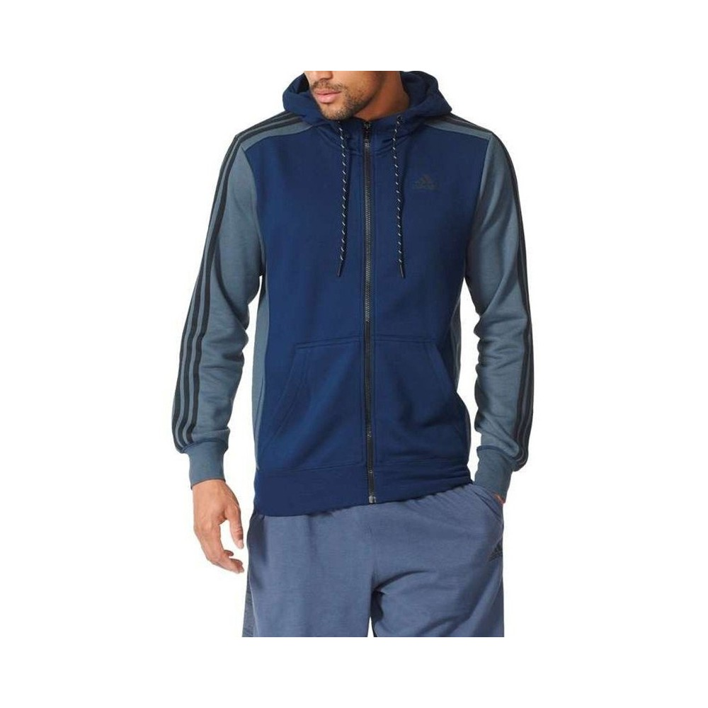 veste adidas hommes a capuche bleue fonce