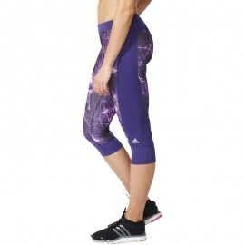 Collant Techfit  Capri 3/4 Violet Running Femme Adidas