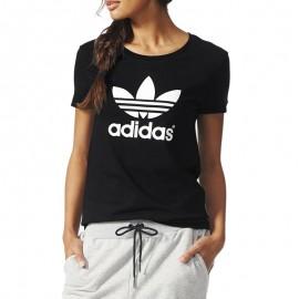 Tee-shirt Trefoil Noir Femme Adidas