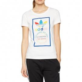 Tee-shirt Slim Blanc Femme Adidas