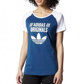 Tee-shirt Raglan Bleu Femme Adidas