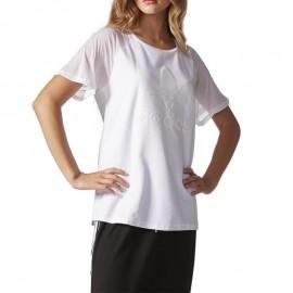 Tee-shirt Manches Ajourées Blanc Femme Adidas
