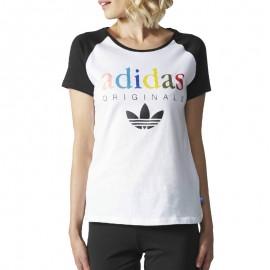 Tee-shirt Raglan Blanc Femme Adidas