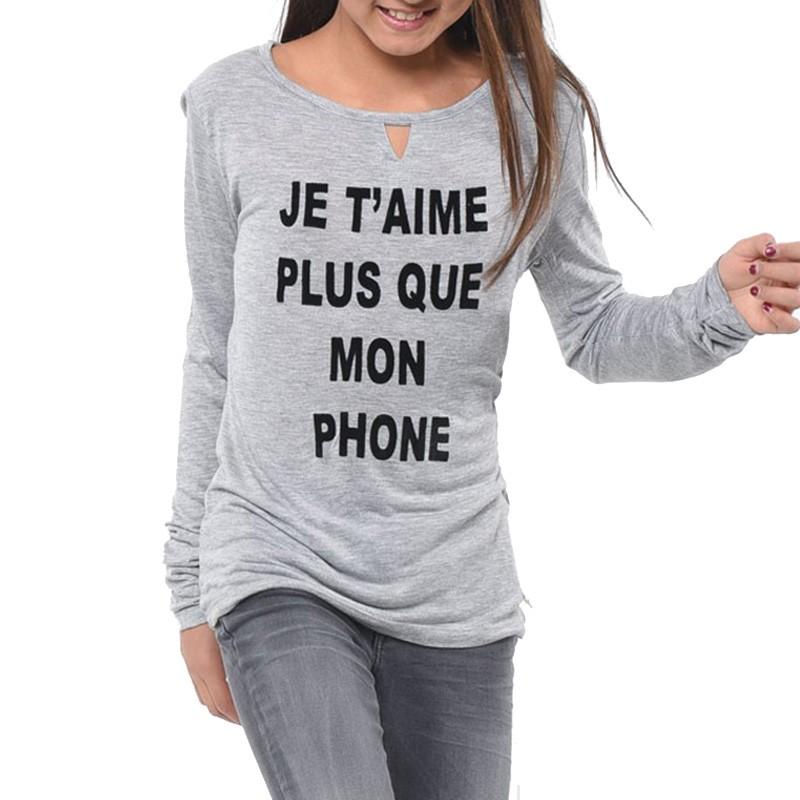 Tee-shirt Aslan Gris Fille Kaporal
